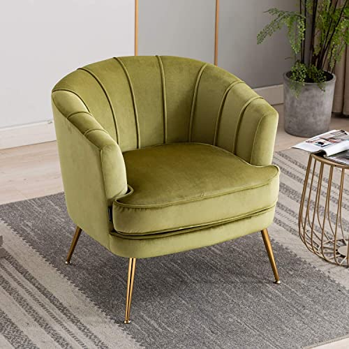 Artechworks Modern Velvet Barrel Chair Accent Armchair