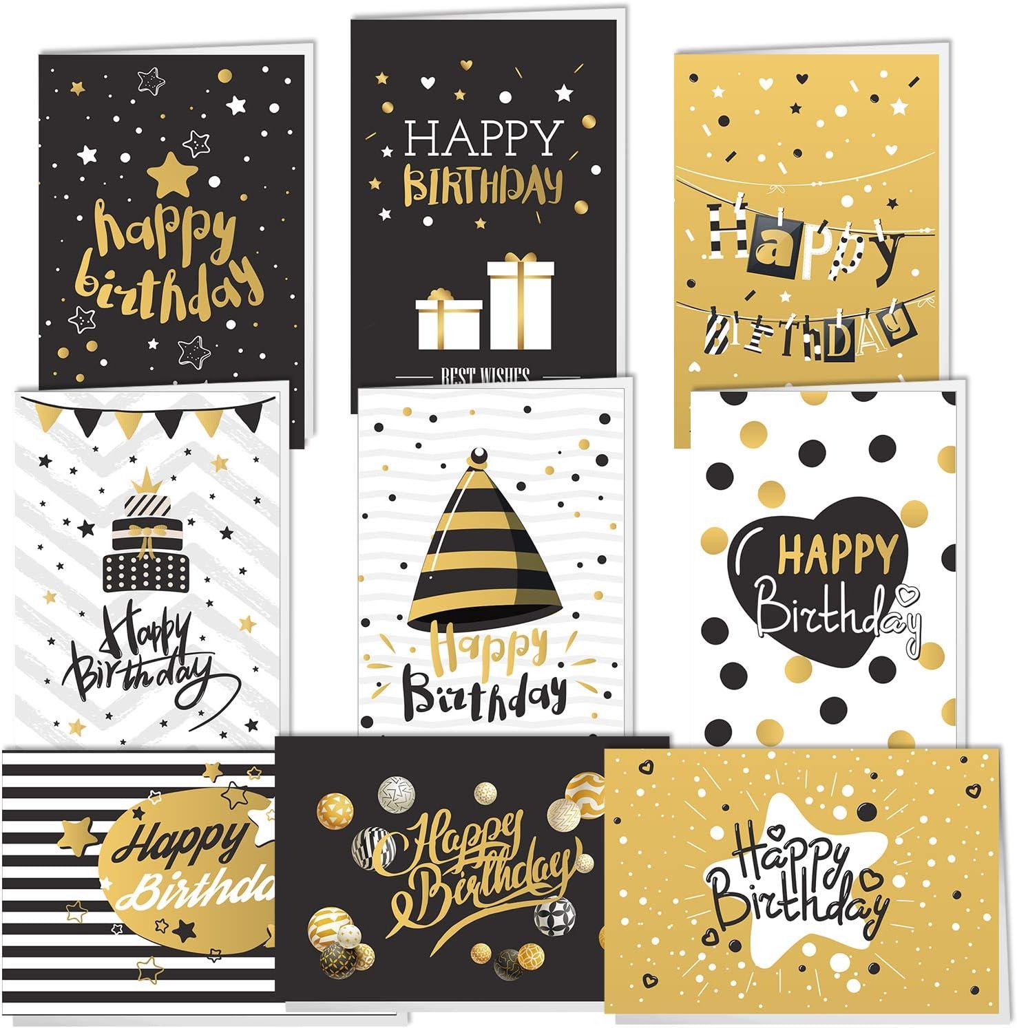 Cartes De Vœux 10 Modeles De Carte Anniversaire Pour Homme Et Femme Kyobo Creations 20 Cartes De Joyeux Anniversaire Lot De Cartes De Voeux Blanches A L Interieur Avec Enveloppes Et Autocollants Fournitures