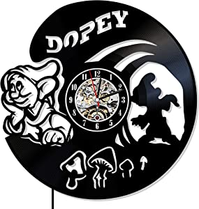 Levescale - Dopey Vinyl Wall Clock Gnome - Perfect Little Friend Gift for Boy, Girl Or Kids - Decoration for Bedroom, Play Room, Classroom - Disney Seven Dwarfs Snow White