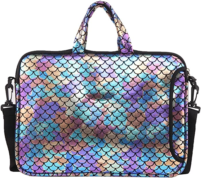 "11.6-Inch Laptop Shoulder Messenger Carrying Bag Case Sleeve For 11"" 11.6"" 12"" 12.5 inch Macbook/Notebook/Ultrabook/Chromebook, Mermaid Scale (Colorful)"
