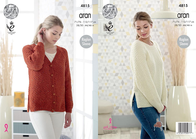 King Cole Ladies Chunky Knitting Pattern Womens Raglan Sleeve Tunic Sweater 4981