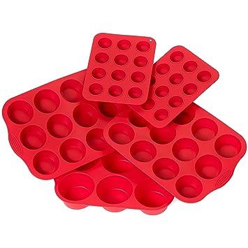 Worldshow BakewareTM 4 piezas Molde de silicona antiadherente y cacerolas de la magdalena Set - incluye Regular, ...