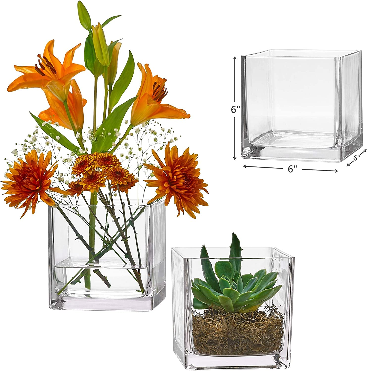 Home Decoration Candle Holders Clear Cube Shape Flower Vase PARNOO Set of 3 Glass Square Vases 6 x 6 Inch Perfect as a Wedding Centerpieces