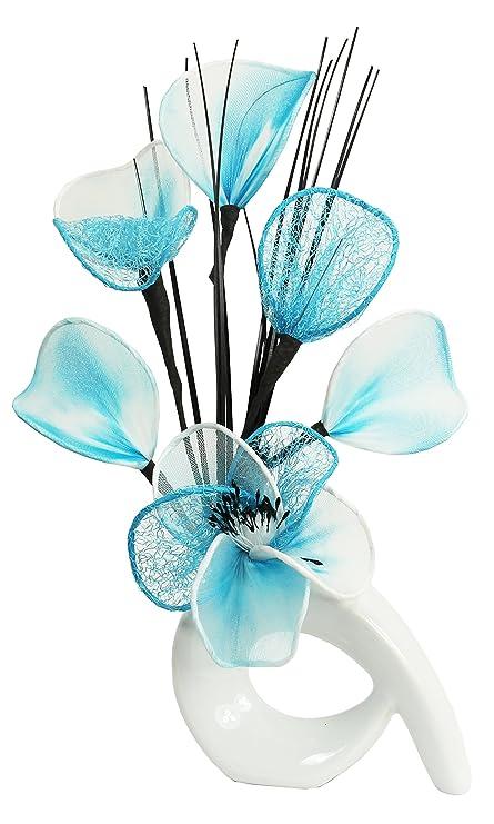 Amazon Flourish 792558 Qh1 White Vase With Teal Blue And White