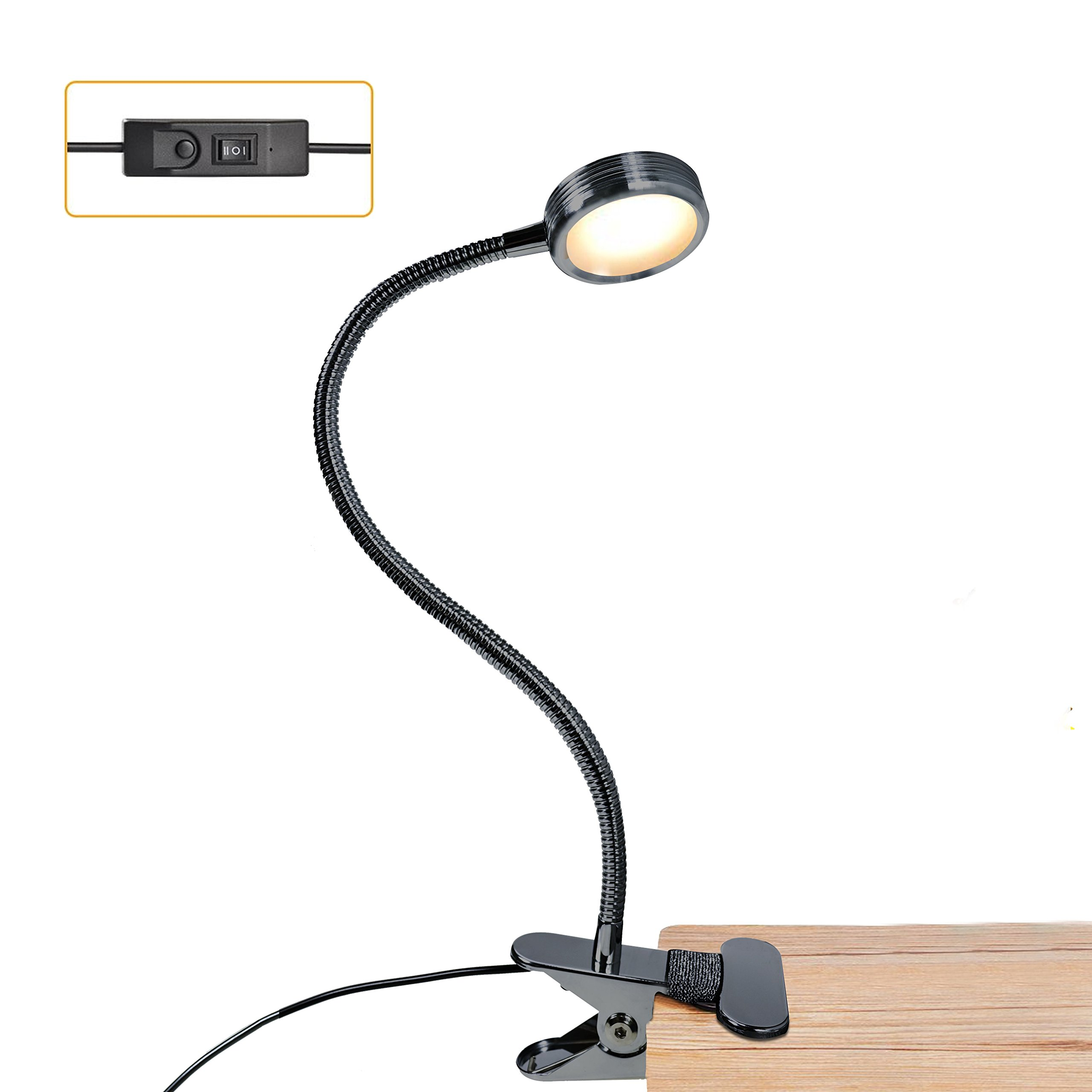 LUXJET LED Book Light Clip On, USB Desk Lamps, 3 Light Color Modes Changeable (Warm White/Daylight / Cool White) for Bunk Bed, Headboard,Computers,Bookshelf or Book Reading at Night
