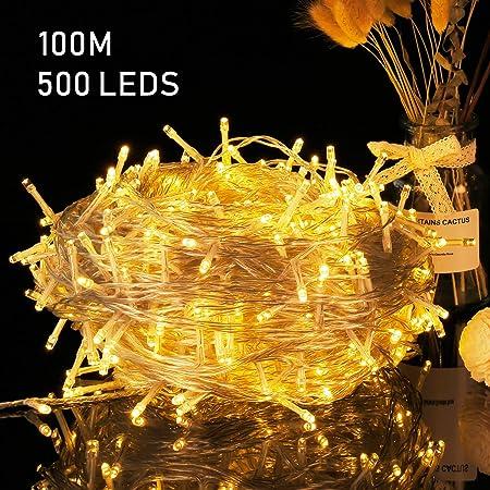 Guirnalda Luces Avoalre 100M / 500 LED Cadena de Lucespara Interior Cálido Casas Decoración Para Exterior, Fiesta, Boda, Navidad, Jardín(Blancas de Luz): Amazon.es: Hogar