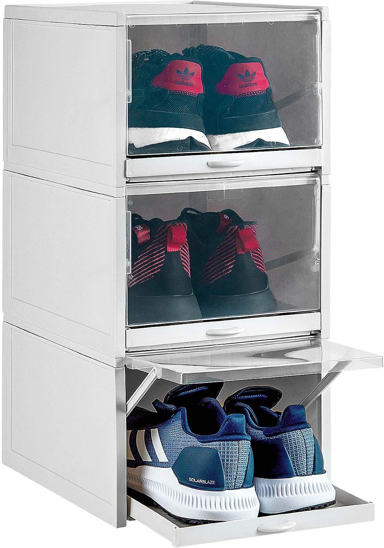 Laizenco Stackable Drawer Type Shoe Box, Shoe Organizer, Shoe Boxes Clear Plastic Stackable, Shoe Storage Boxes Clear Stackable | Shoe Case, Sneaker ...