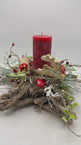 Weihnachtsdeko Für Adventskranz.Weihnachtsgesteck Adventsgesteck Weihnachtsdeko Adventskranz Kerze