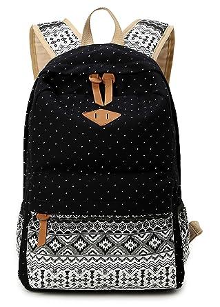 4f22b4298794 HAPPYTIMEBELT Polk Dot School Bag Comfortable Strap Wave pattern Backpack  (Black)