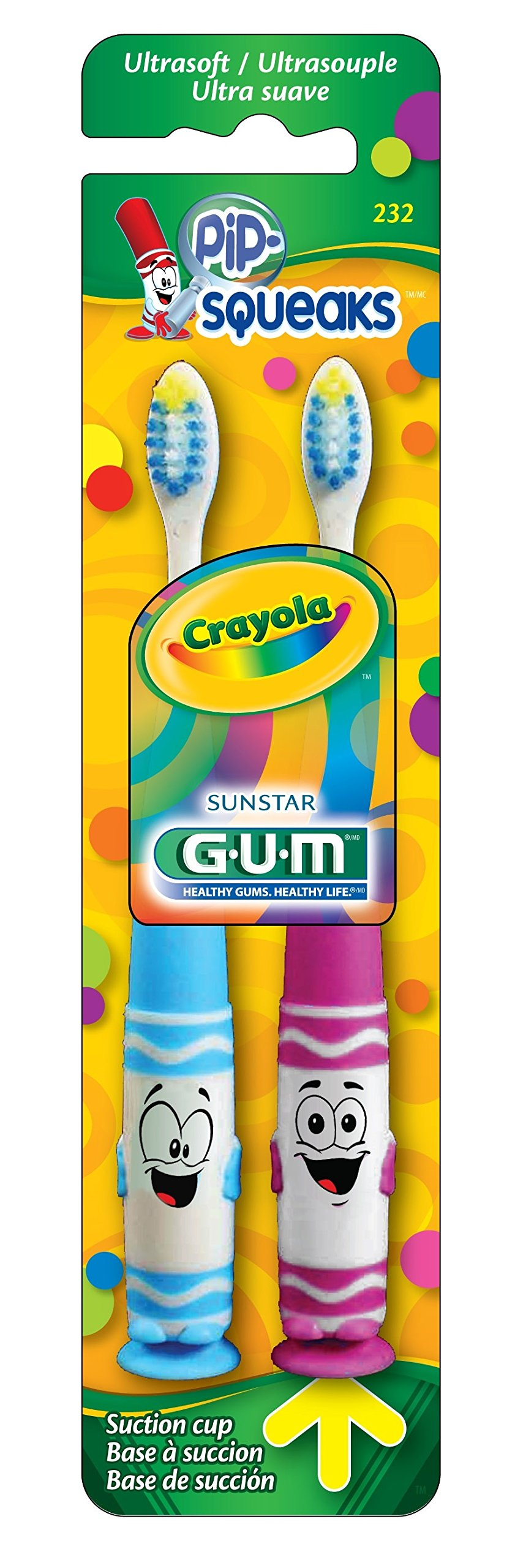 GUM Crayola Pip-Squeaks Toothbrush (Pack of 2) Ultra Soft Bristle, Packaging May Vary