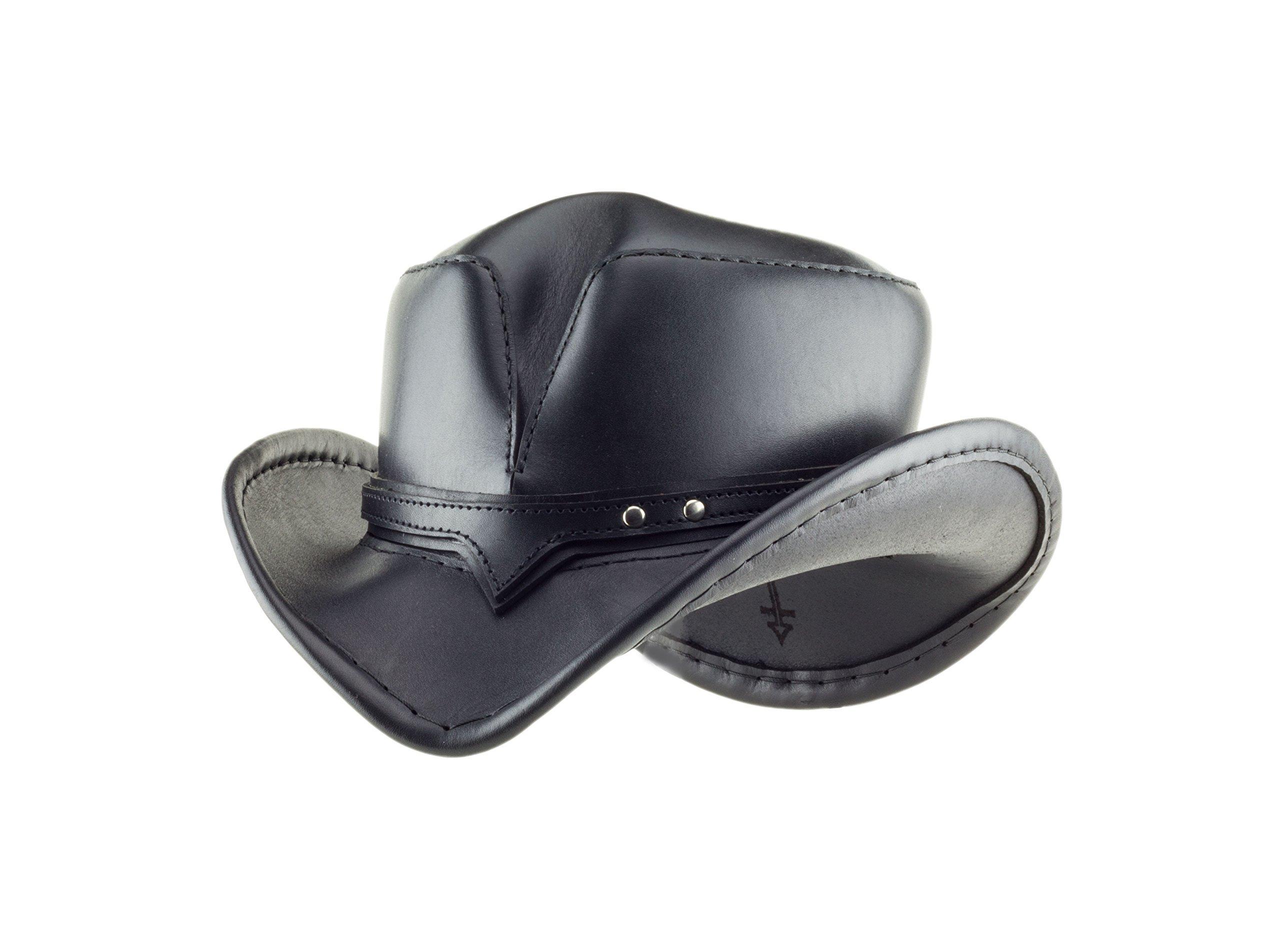''Rambler'' Black Leather Hand-stitched Western Hat