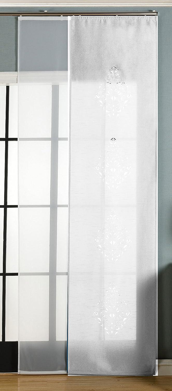 HxB 245x60 cm Gardinenbox 2er-Pack Schiebegardine Fl/ächenvorhang Nantes Lasercut Wildseide Optik Voile 165650 Paneelwagen und Beschwerungsstangen Braun inkl