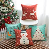 WLNUI Set of 4 Christmas Pillow Covers 18x18 Red and Blue Merry Christmas Decorative Throw Pillow Covers Square Cushion…