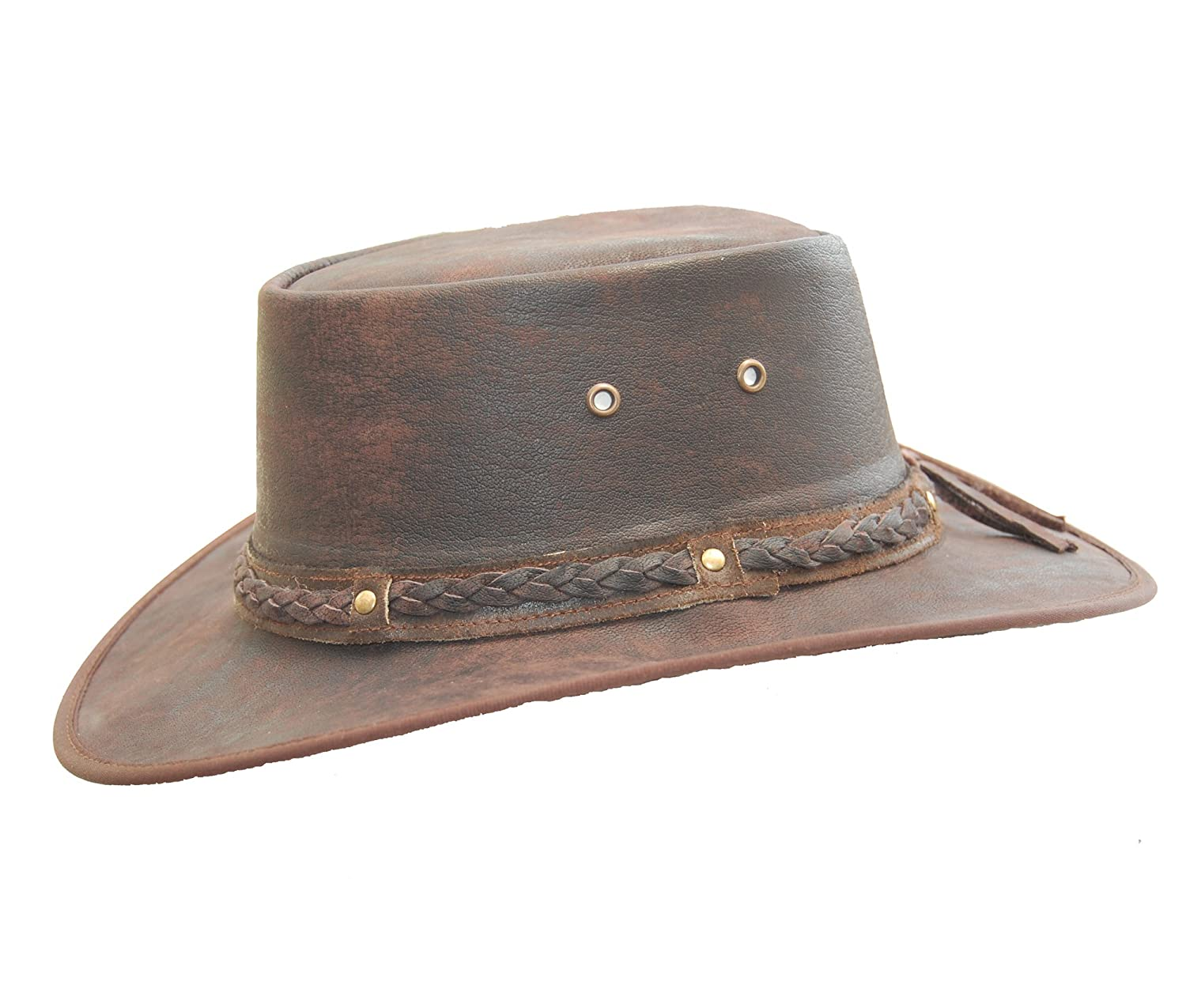 Lesa Collection Real Leather Foldaway Crushable Australian-Style Bush Hat