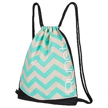 84691fa8871e Runetz - Chevron HOT TEAL Gym Sack Bag Drawstring Backpack Sport Bag for Men    Women