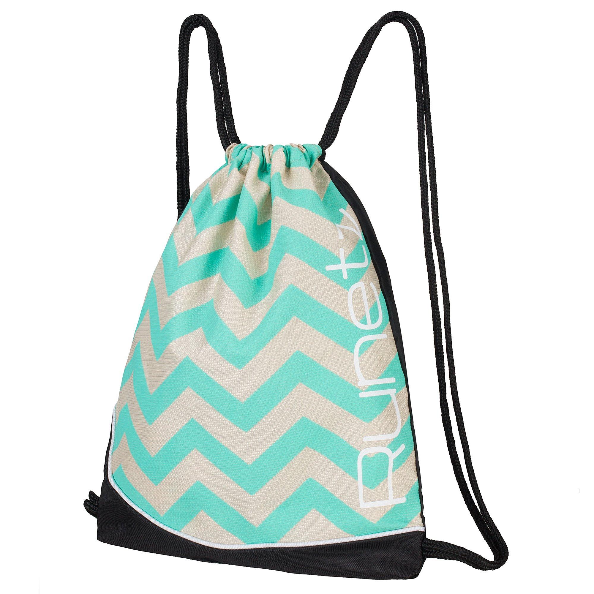 Runetz - Chevron HOT Teal Gym Sack Bag Drawstring Backpack Sport Bag for Men & Women Sackpack - Chevron Teal