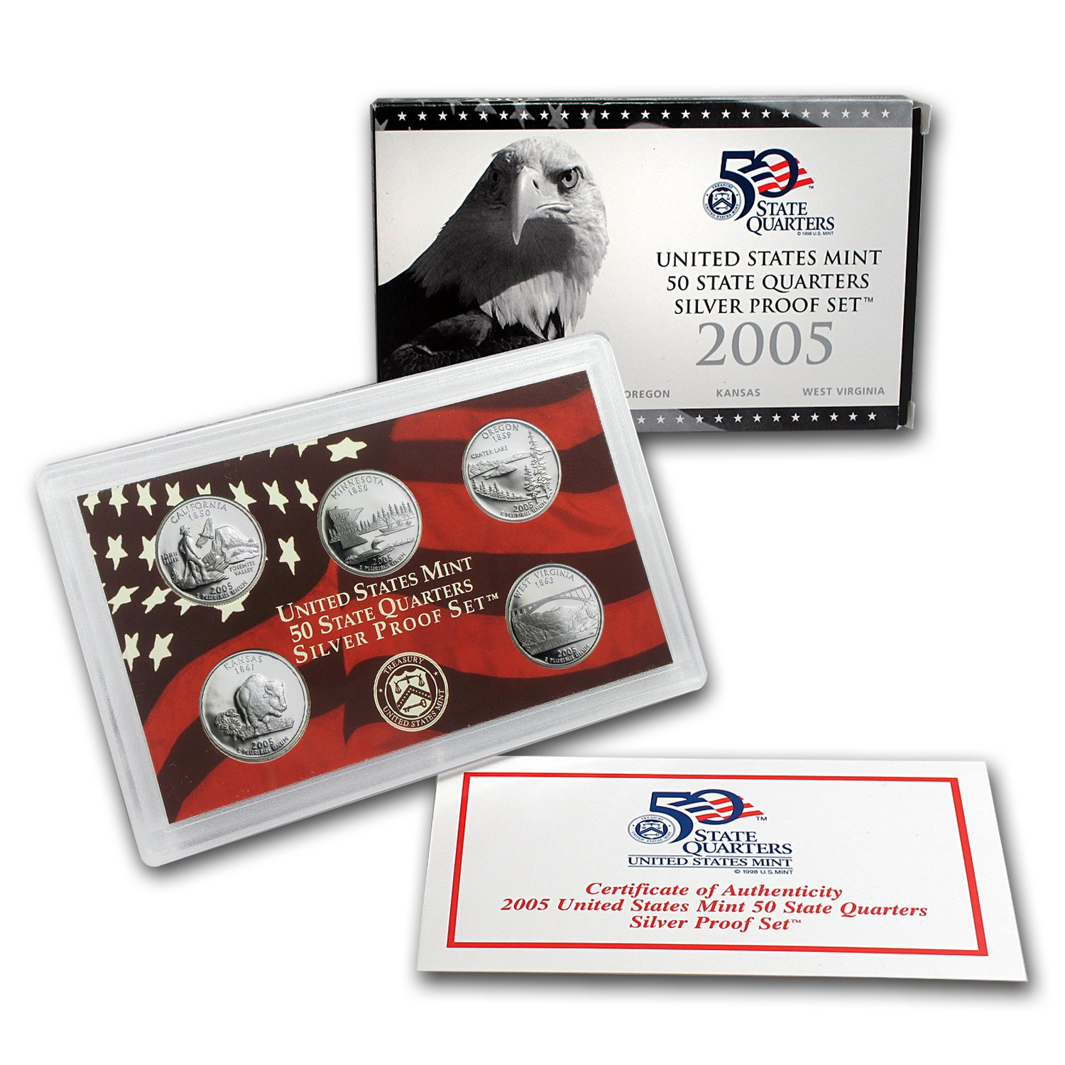 SILVER Proof Set U.S Mint Made in Red Mint Box with COA 2005-s U.S