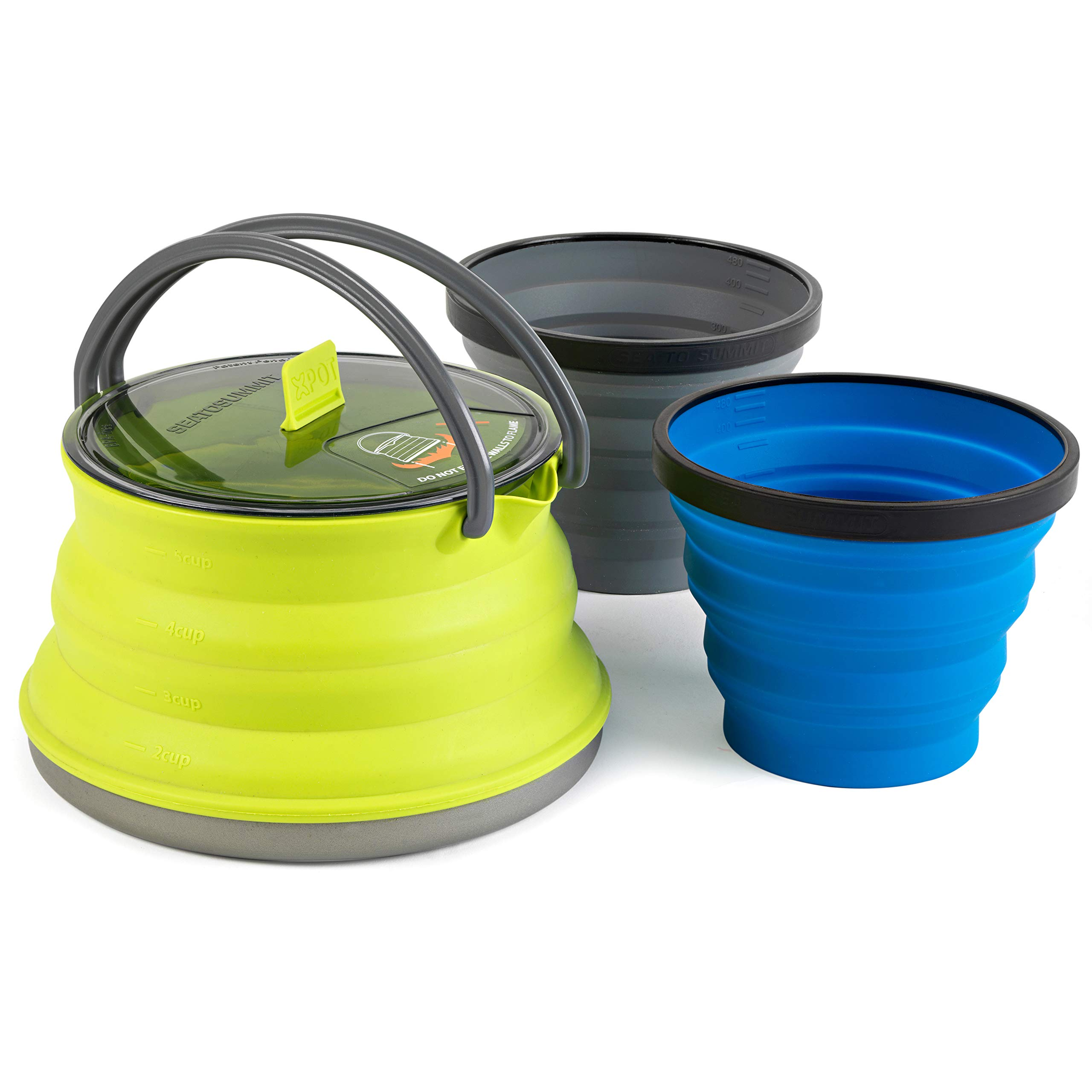 Sea to Summit X-Set 11 (3 Piece) X-Kettle & 2 X-Mugs, 1.3 L, Lime Green by Sea to Summit