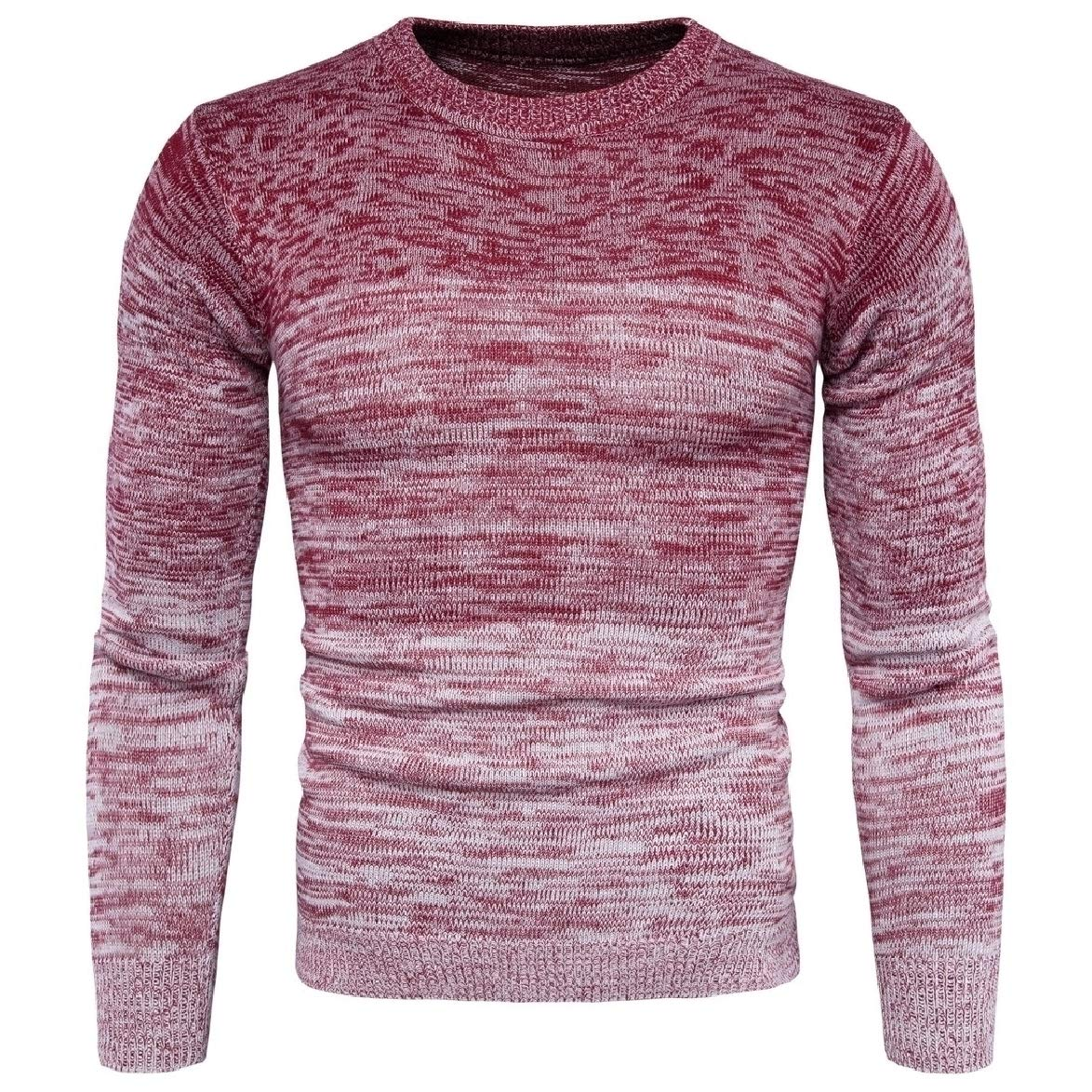Tingwin Mens Long Sleeve Crew Neck Knit Gradients Casual Pullover Sweater Top