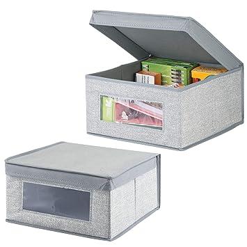 mDesign Juego de 2 organizadores de escritorio - Cajas organizadoras con tapa medianas para lápices, libretas y otros artículos - Caja para organizar con ...