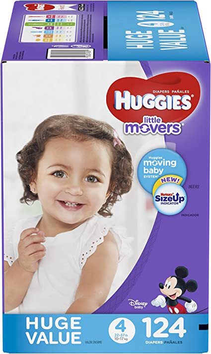 22 Ct Huggies Little Movers Diapers Size 4 Disposable Diaper 22-37 lb