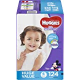 HUGGIES LITTLE MOVERS Diapers, Size 4 (22-37 lb.), 124 Ct. (Packaging May Vary), Baby Diapers for Active Babies