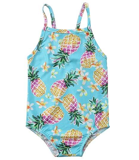 9a8e29e0fd Baby Girls One-Piece Swimsuit Pineapple Print Swimwear Striped Halter Bathing  Suit Beach Wear (