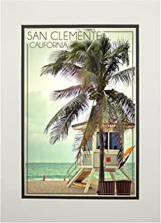 product image for San Clemente, California - Lifeguard Shack and Palm (11x14 Double-Matted Art Print, Wall Decor Ready to Frame)