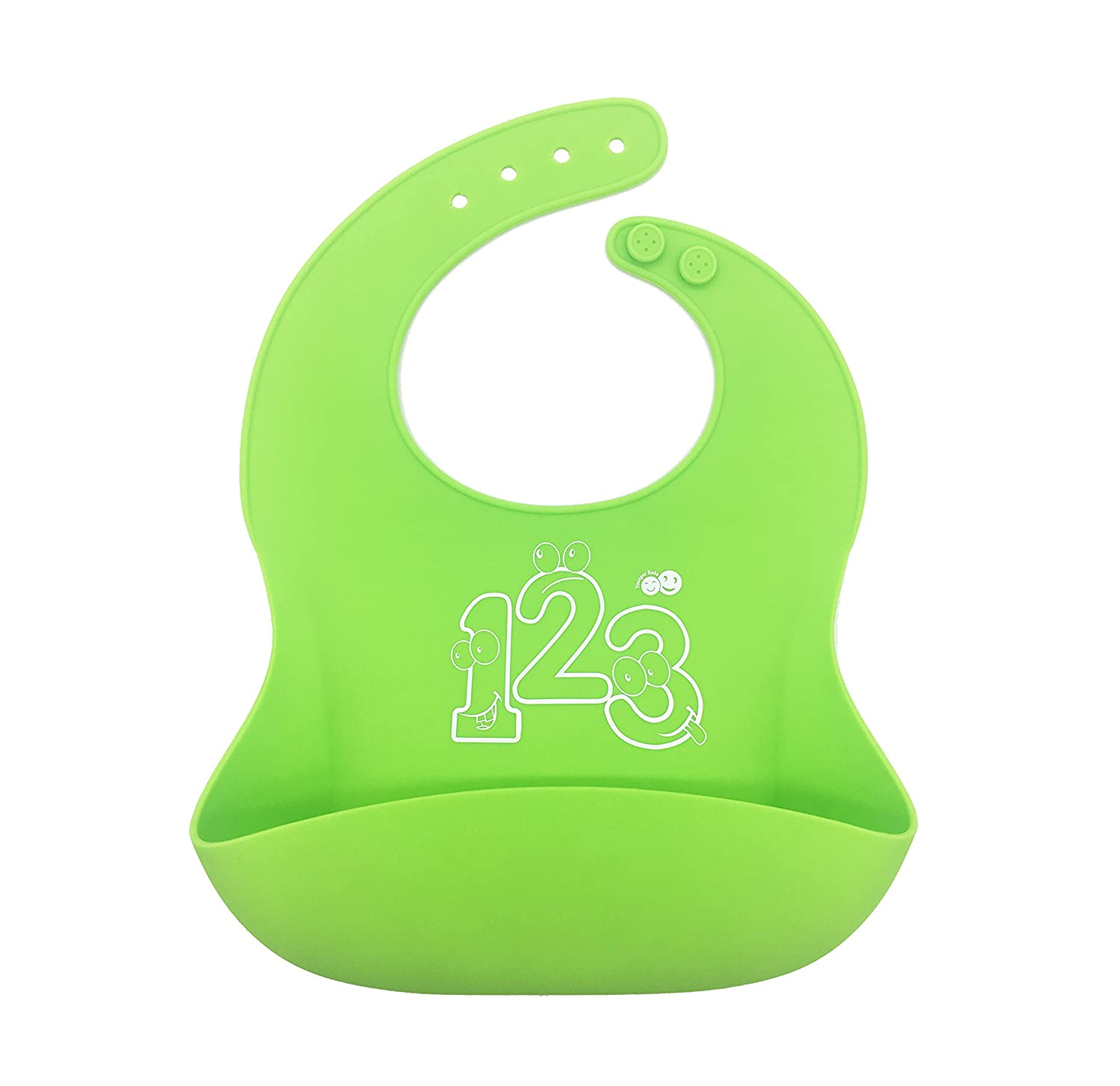 Soft Waterproof Silicone Baby Bib Easily Wipes Clean & Quick Drying (Blue) YoungerBeBe