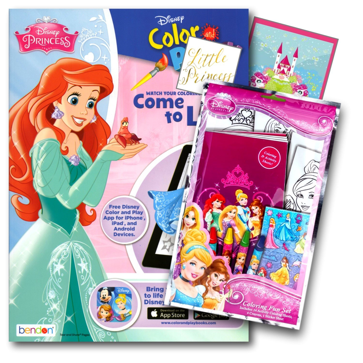 Amazon Disney Princess Coloring Book Pack With Stickers Crayons And Activity Bundled 2 Separately Licensed GWW Specialty Reward