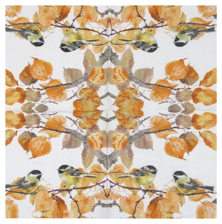 """AUTUMN BIRDS LEAVES ORANGE 3-PLY 20 PAPER NAPKINS SERVIETTES 13""""x13"""