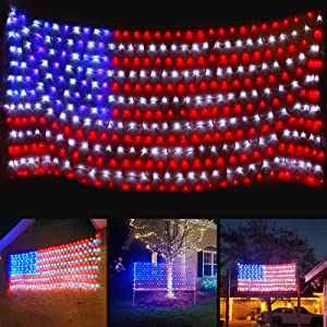 Upgraded Super Larger Size American Flag Lights, July 4th Patriotic Lights with Ultra-Bright 420 LEDs, Waterproof Led Flag Net Light of The United States, 4th of July Decor Independence Day Memorial Day
