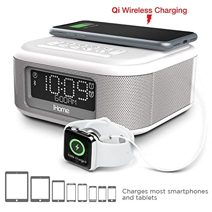iHome iBTW23 Alarm Clock Bluetooth Stereo Lightning iPhone Qi Wireless  Charging Dock Station iPhone Xs, XS Max, XR, X, iPhone 8/7/6 Plus USB Port