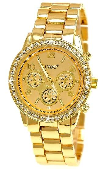 Elegante LYDC London® Designer diseño reloj mujer cronógrafo brillantes mujer reloj en oro incluye caja