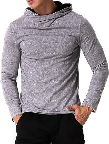 Men/'s Hoodies T Shirt With Side Zipper Male Long Sleeve Hooded Top Streetwear