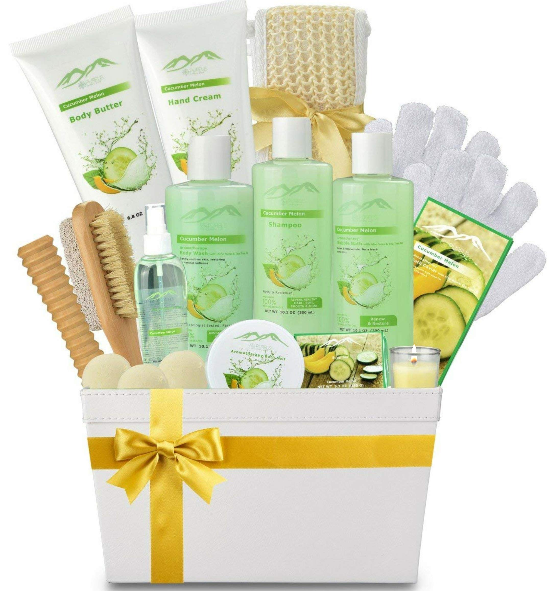 Spa Gift Baskets Beauty Gift Basket - Spa Basket, Spa Kit Bed and Bath Body Works Gift Baskets for Women! Bath Gift Set Bubble Bath Basket Body Lotion Gift Set for Holidays (Cucumber Melon) by Purelis