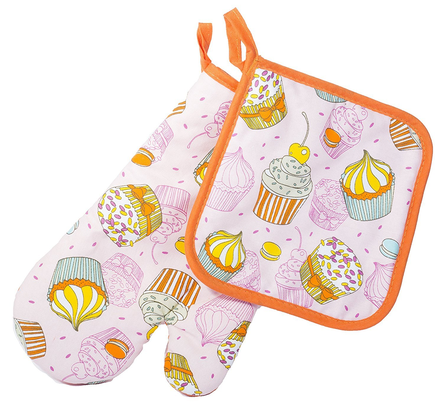 Cupcakes Thumb Mitt Кitchen Wears Print Pot Holder Cupcakes and Designs Potholders Set