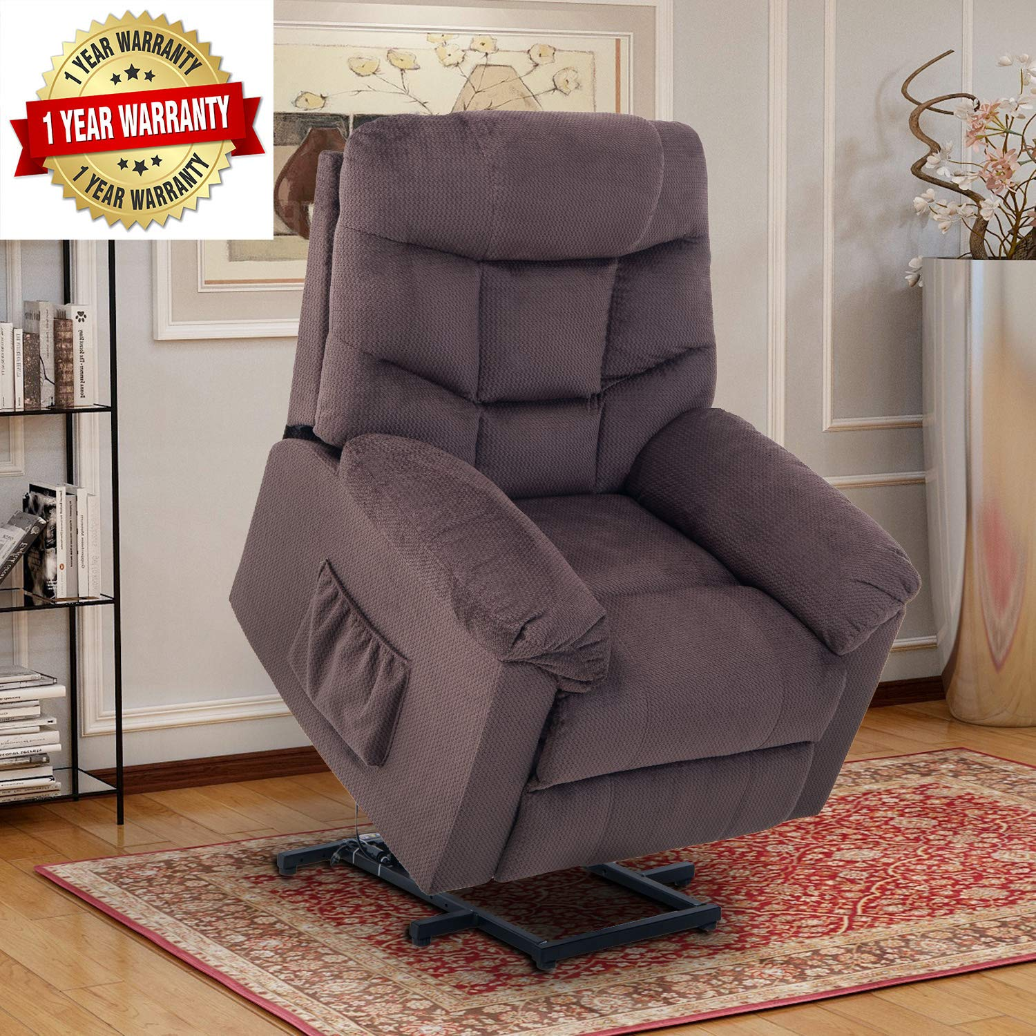 Lift Chairs for Elderly Lift Chairs Recliners Electric Recliner Chairs Lift Chairs with Remote Control Soft Fabric Upholstery Recliner Living Room Sofa by Merax