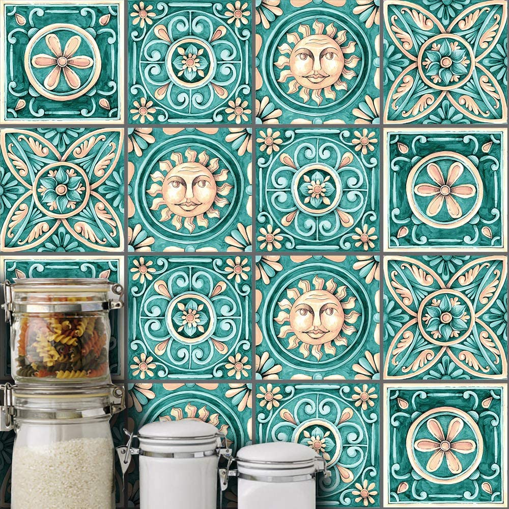 AILEGOU Waterproof Vinyl Wall Tiles Sticker for Home Decor, Self-Adhesive Peel and Stick Backsplash Tile Decals for Kitchen Bathroom Decor, 6x6inch 10 Pcs.(Majolica)