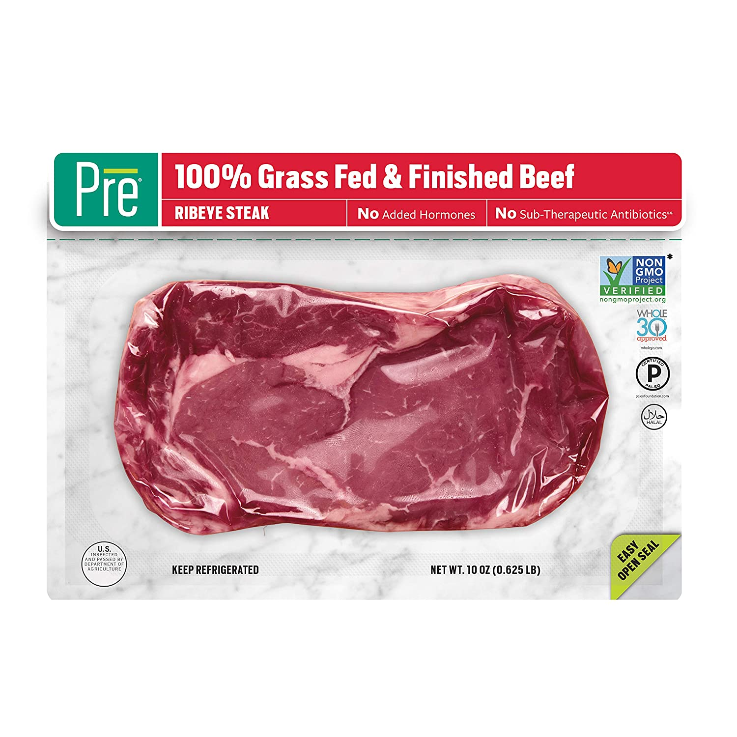 Pre, Ribeye Steak – 100% Grass-Fed, Grass-Finished, andPasture-Raised Beef– 10oz.
