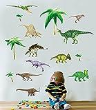 * Dinosaurs - Boys - Kids - Nursery - bedroom - Wall Stickers 50 x 70cm sheet Transparent - Clear edge