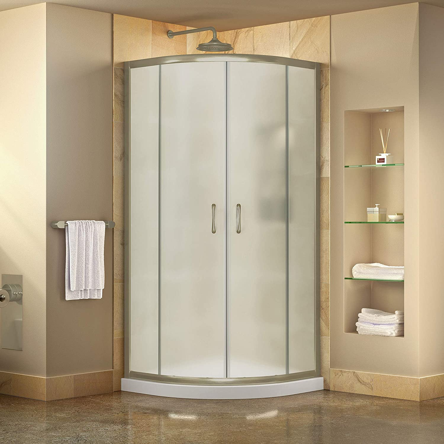 DreamLine DL-6703-04FR Prime Shower Enclosure and Base, 38 W x 38 D, Brushed Nickel