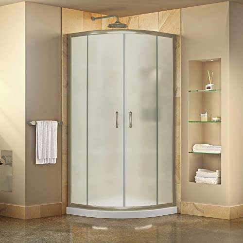 DreamLine Prime 38 in. x 74 3 4 in. Semi-Frameless Frosted Glass Sliding Shower Enclosure in Brushed Nickel with White Base Kit, DL-6703-04FR