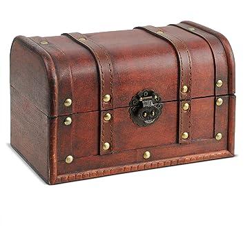 Brynnberg - Caja de Madera Cofre del Tesoro Pirata de Estilo Vintage, Hecha a Mano, Diseño Retro 21x14x14cm: Amazon.es: Hogar