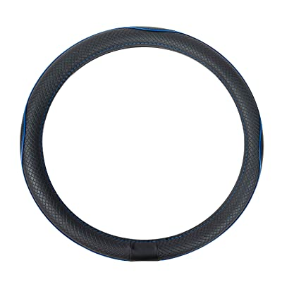 Basics Leatherette Steering Wheel Cover, 15″, Black and Blue: Automotive