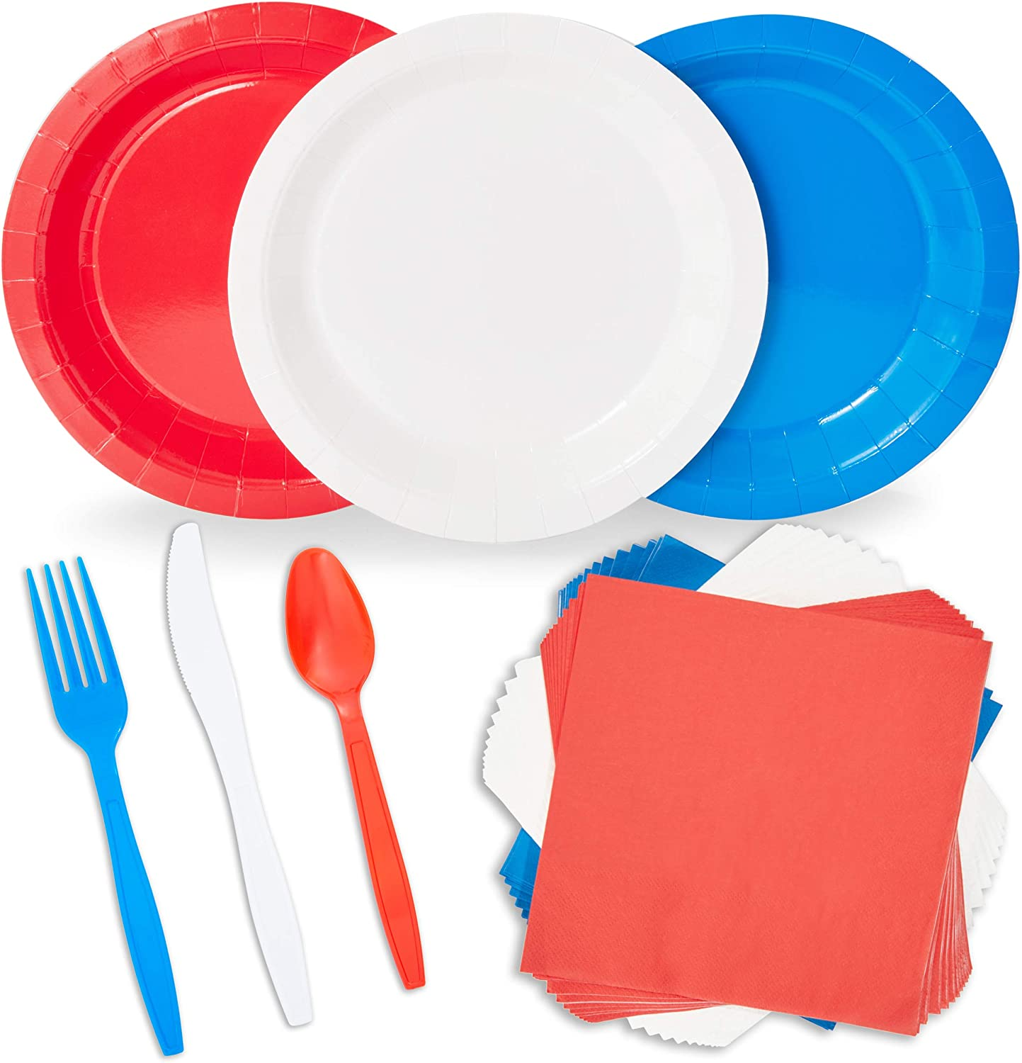 Red, White, and Blue Dinnerware Set for 4th of July (Serves 48, 240 Pieces)