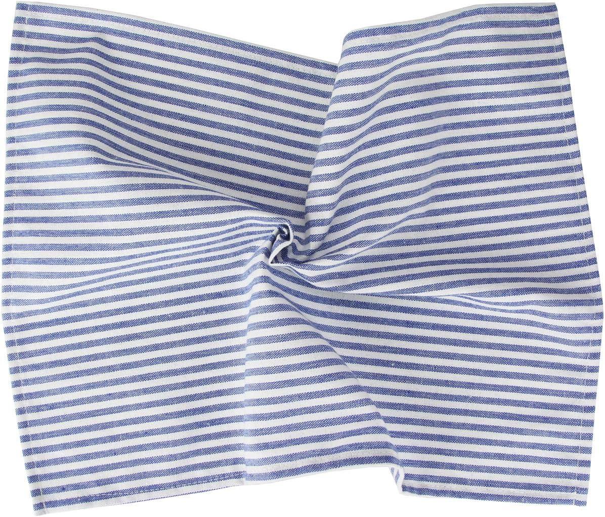 40 /%/_Polyester Polyester Leinen baumwolle 40 x 30 cm Set von 12 f/ür Veranstaltungen und Zuhause 40 x 30 cm INFEI Weiche einfarbige gestreifte Leinen-Baumwoll-Servietten blau