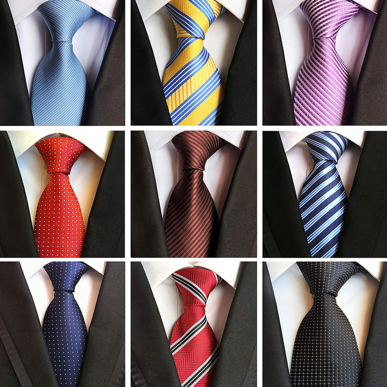 Jeatonge Lot 6pcs Mens Ties and 3pcs Tie Clips, Men's Classic Tie Necktie Woven Jacquard Neck Ties (9-7)