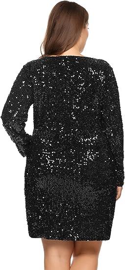 Womens Sequin Dress Plus Size V Neck Party Cocktail Sparkle