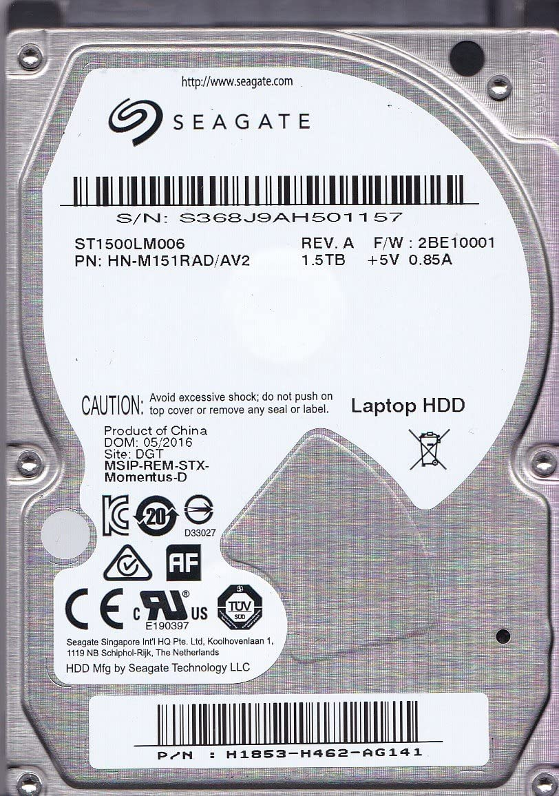 """Seagate Momentus SpinPoint ST1500LM006 1.5 TB 5400RPM 2.5/"""" SATA Hard Drive MR"""